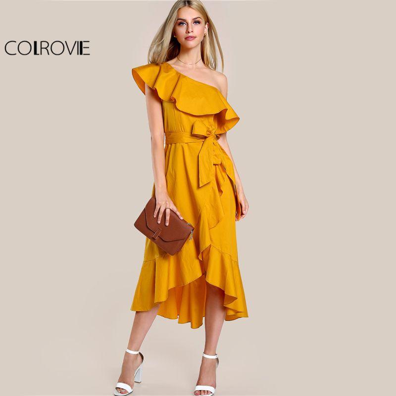 COLROVIE One Shoulder Hi-Lo Ruffle Dress Sexy Overlap 2017 Women Yellow A Line Midi Summer Dresses Elegant Cute Midi Bow Dress