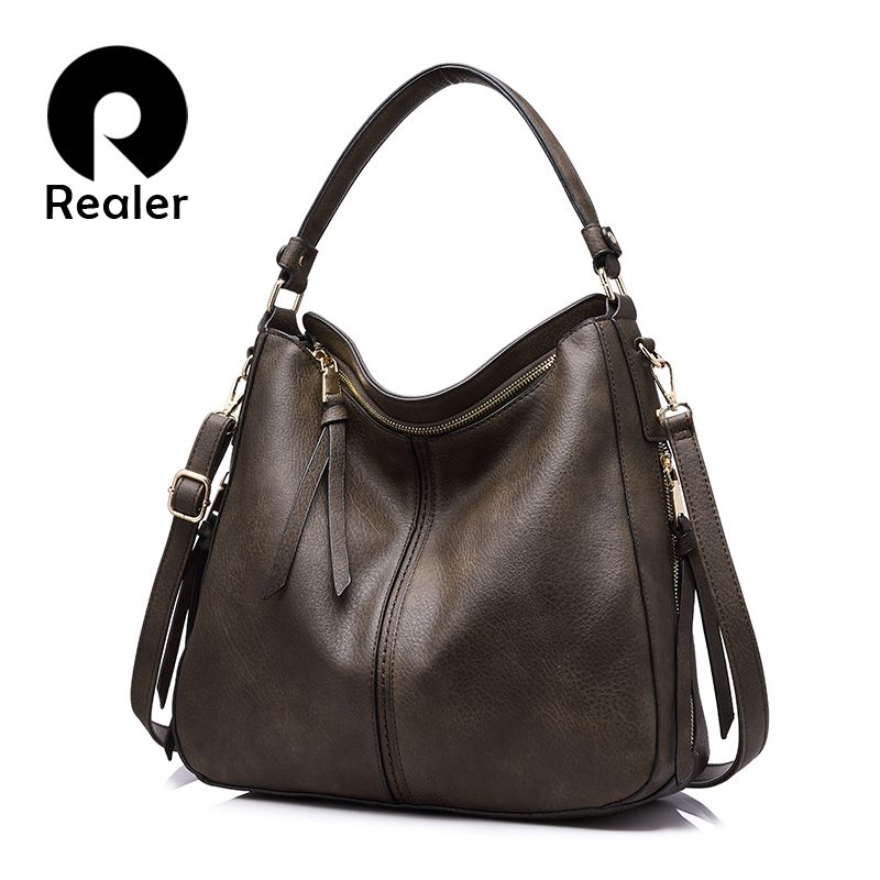 REALER handbags women shoulder crossbody bag female casual large totes high quality <font><b>artificial</b></font> leather ladies hobo messenger bag