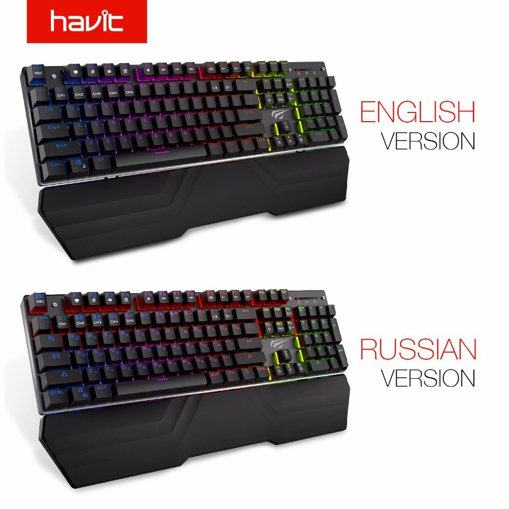 HAVIT Mechanical Keyboard Russian English 104 Keys Blue Switch Wired Gaming Keyboard RGB Light Anti-Ghosting Keyboard HV-KB432L