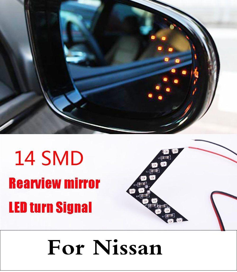 Автомобиль Стиль 14SMD стрелка Панель светодиодные боковые зеркала индикатор для Nissan Teana Terrano Tiida Versa wingroad Xterra X- Trail марта