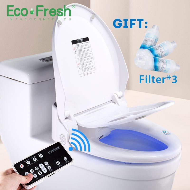Ecofresh Smart wc sitz Dusch-wc Elektrische Bidet intelligente beheizten wc sitz led licht integrierte kinder baby traing stuhl