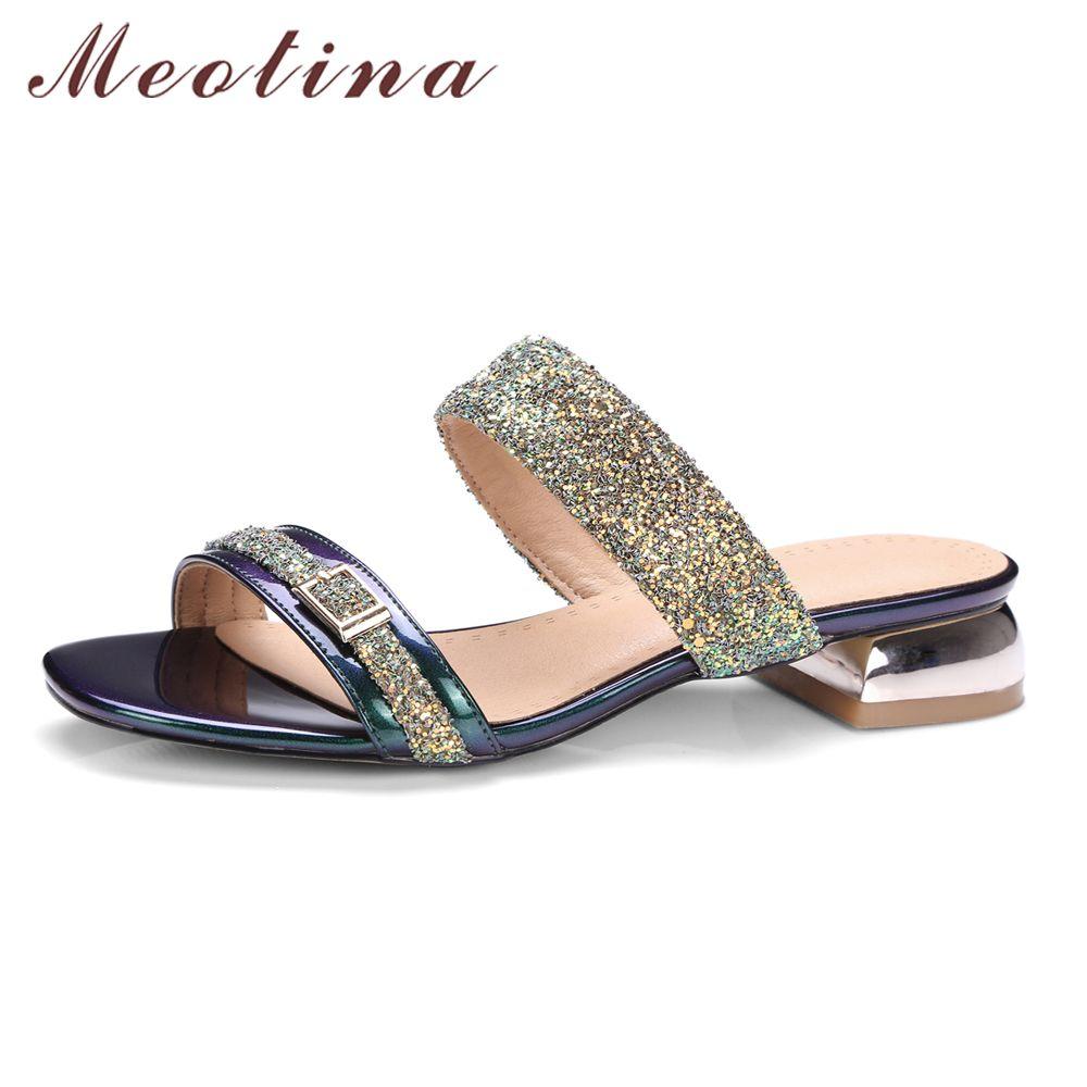 Meotina Women Sandals Summer 2017 Women Slides Glitter Low Heel Slippers Causal Beach Shoes Ladies Sandals Gold Large Size 9 10