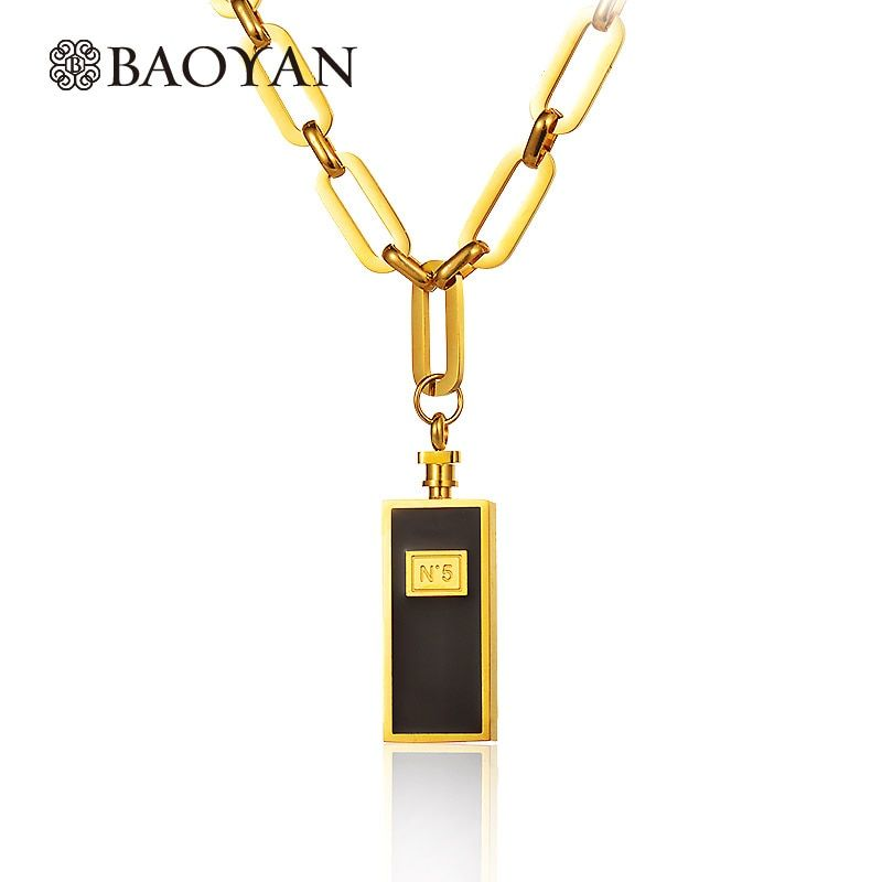 Baoyan 316L acier inoxydable argent or couleur numéro N 5 bouteille de parfum Chunky lourd or longue chaîne pendentif collier pour les femmes
