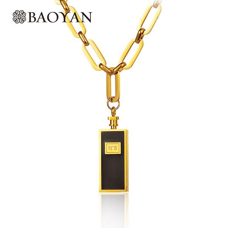 Baoyan argent plaqué or en acier inoxydable lien chaîne colliers marque de mode bijoux parfum bouteille pendentif colliers pour les femmes