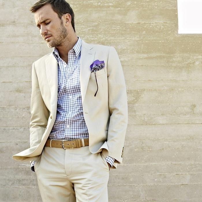 2017 Latest Coat Pant Designs Ivory Linen Men Suit Classic Skinny Summer Beach Simple Custom Tuxedo 2 Pieces Terno Masculino 66