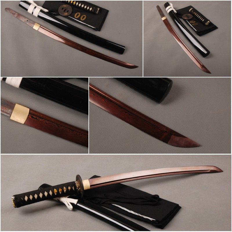 Folded Steel Tameshigiri Sharp Japanese Wakizashi Optimal Home Decoration Full Tang Red Blade Samurai Sword
