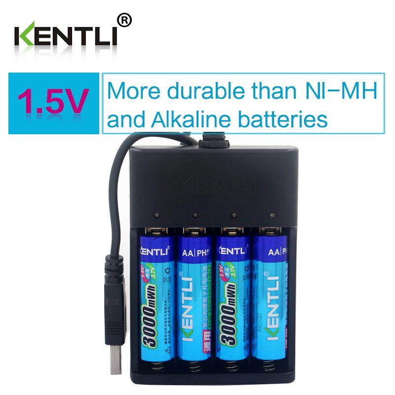 4 stücke KENTLI AA 1,5 V 3000mWh polymer lithium li-ion wiederaufladbare batterien batterie + 4 slots USB li-ion ladegerät