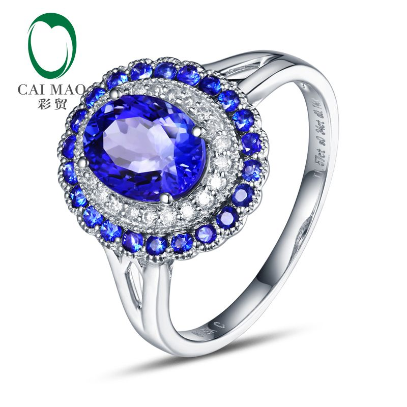 6x8mm Oval Cut 1.68ct Natural Tanzanite & Diamonds 14K White Gold Classic Milgrain Ring