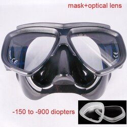 Ultra volume rendah hitam diving mask, Dewasa scuba masker, Optik lensa kaca tempered freedive mask, Dan flexable silikon snorkeling set