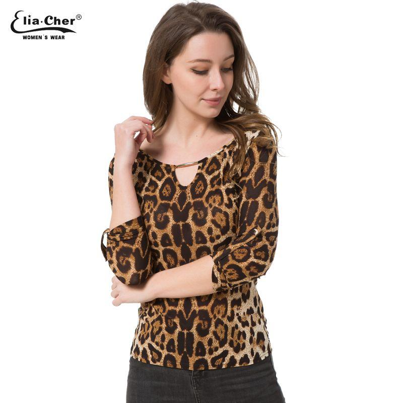 Блузка Для женщин Топы корректирующие Половина рукава Для женщин рубашка elia Шер плюс Размеры Повседневное женская одежда леди Леопардовый ...