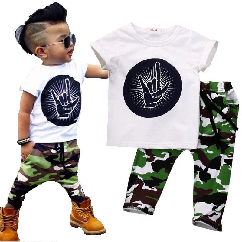 Élégant bébé enfant en bas âge bébé enfants garçons tenues bébés garçon Rock geste hauts T-shirt + Camouflage pantalon tenue ensemble vêtements