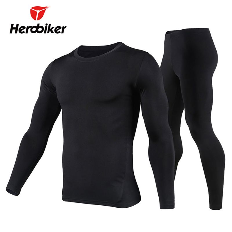 Herobiker Men's Fleece Lined Thermal Underwear Set Motorcycle Skiing Base Layer Winter Warm Long Johns Shirts & Tops Bottom <font><b>Suit</b></font>