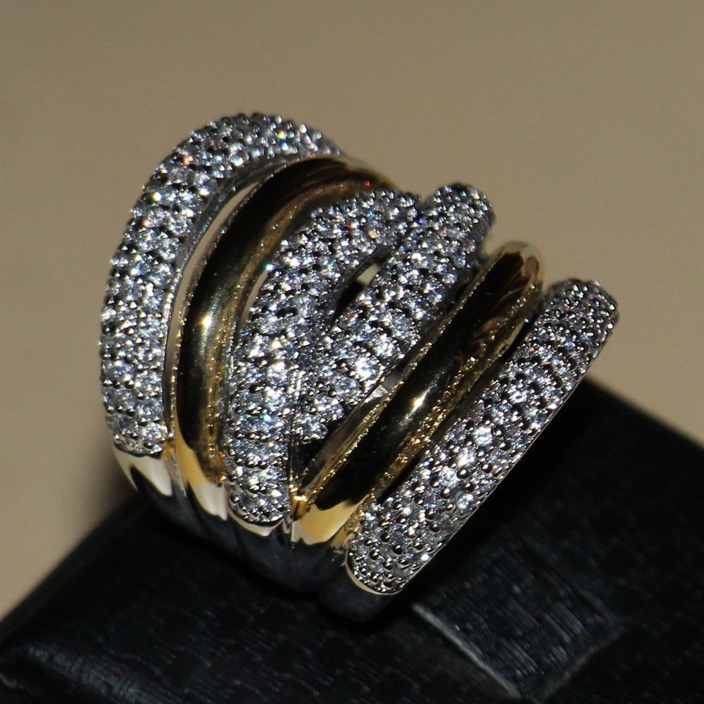 Size 5-11 Free shipping Luxury Jewelry Diamonique 14KT White gold filled Wedding Simulated stones Band Women Ring gift