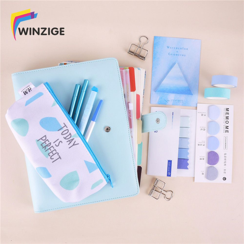 A5A6 Colored Spiral Notebook With Filler Papers Pens Tapes Stickers Overvalued Stationery Set Package School Student DIY Planner