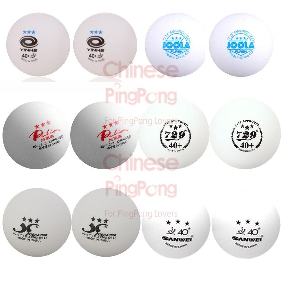12x Multi-brand 3-Star Seamless Plastic Table Tennis Ball Set (729, Xushaofa, Palio, Sanwei, YINHE, Joola) 40+ Ping Pong Balls