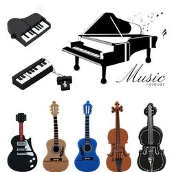 9 Gaya Alat Musik Model USB Flash Drive Biola/Piano/Gitar Pen Drive 8 Gb 16GB 32 gb Flash Disk U