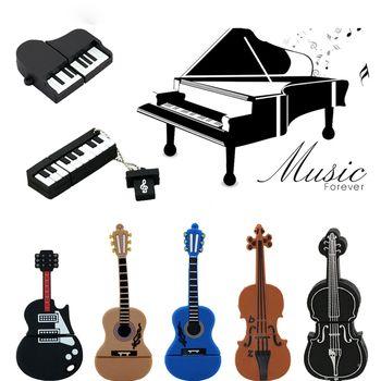 9 Styles Musical Instruments Model USB Flash Drive Violin/Piano/Guitar Pen Drive 8GB 16GB 32GB Flash Memory Stick Storage U Disk