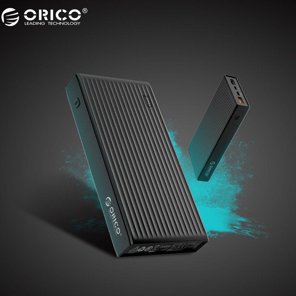 ORICO QC3.0 Energienbank 20000 mah BC1.2 Typ C Zwei-wege Quick Charge 18 Watt Max Ausgang Für Moblie Telefon