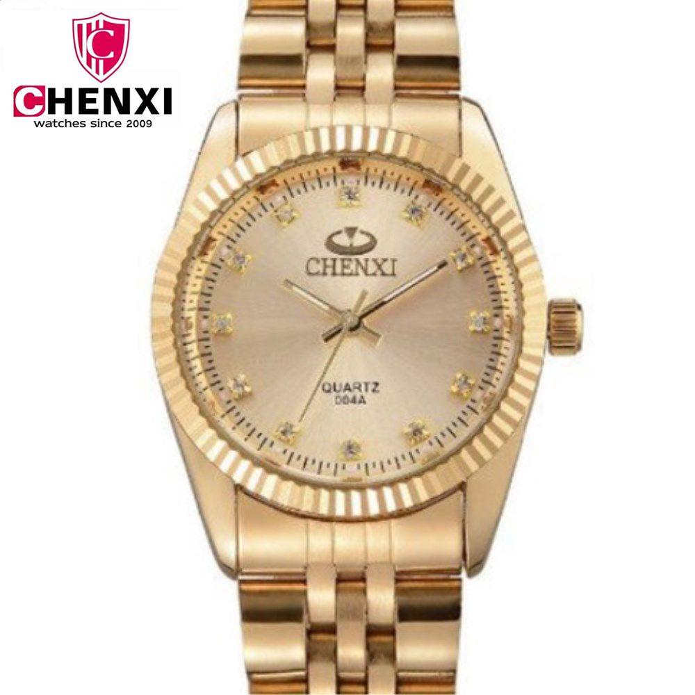 CHENXI femmes montres dorées dames montre en or Bracelets en or cadeaux montres à Quartz étanche strass Quartz montre rétro