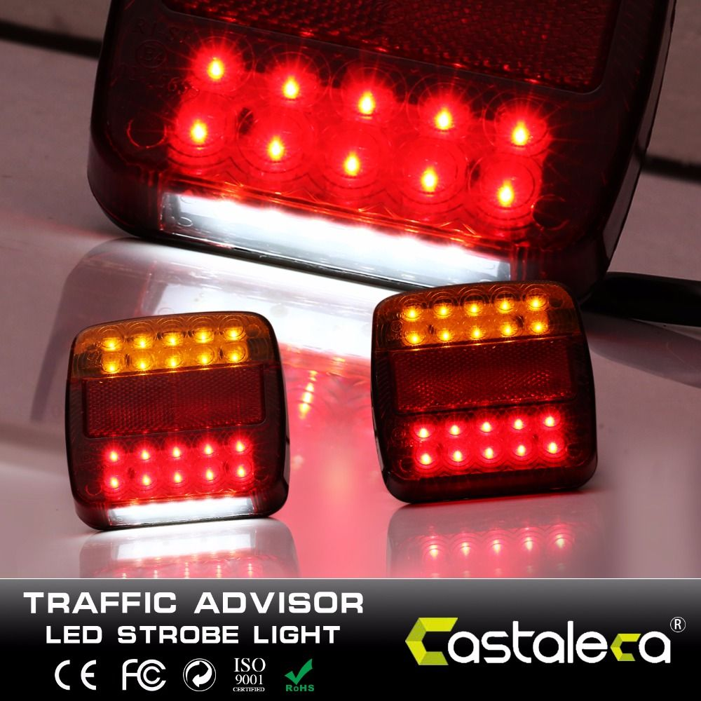 castaleca 12V 20 Leds Car Truck Warning Rear Tail Light Warning Lights Rear Lamps Tail Lights Rear Parts for Trailer Truck Boat