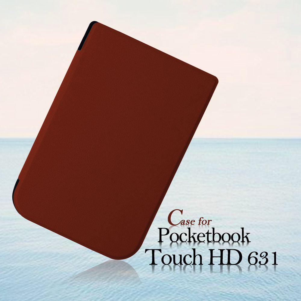 Housse pour 2016 Pocketbook Touch HD 631 6 pouces Ereader PU étui en cuir + film protecteur d'écran + stylet stylo comme cadeaux gratuits