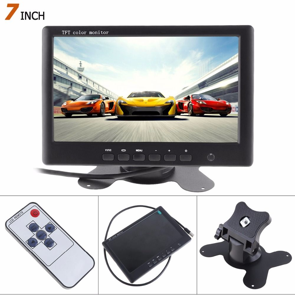 Hot Sale! 800*480 7 Inch HD Color TFT LCD Screen Rear View Camera Monitor 2 AV Video Input Car Reverse DVD VCD Player Monitor