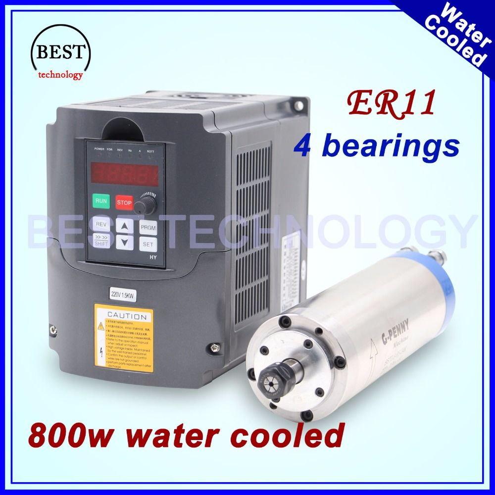 220V 800W ER11 water cooled spindle motor water cooling & 1.5kw VFD inverter Variable Frequency Drive CNC Spindle speed control
