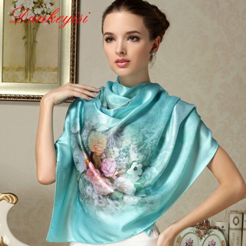 DANKEYISI 100% Mulberry Long Scarf Women Silk Scarf Luxury Brand Scarf Shawl Silk Scarves Long Printed Shawls Beach Cover-ups