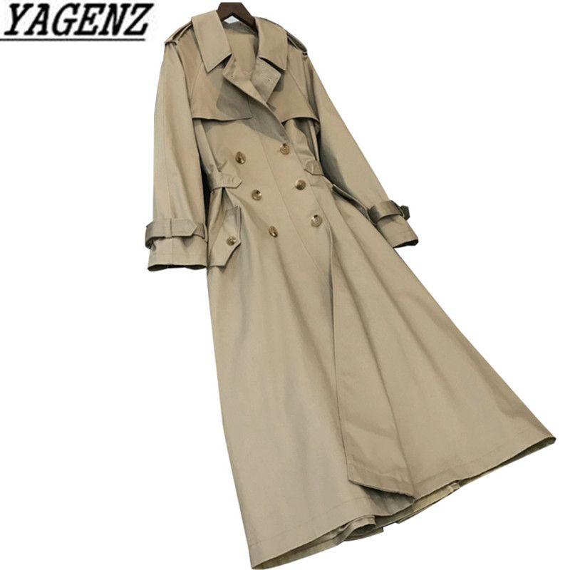 Double breasted Female Windbreaker Coats 2018 Korea Spring New Elegance Temperament Casual Ladies Long Trench Overcoat Coat 2XL