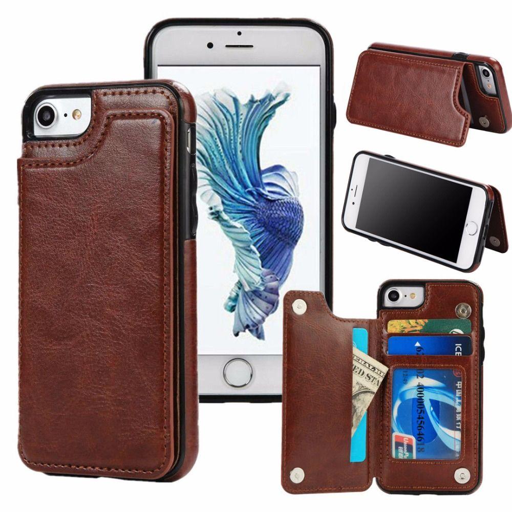 Тонкий кожаный бумажник держатель кредитной карты Стенд чехол для iPhone X 5 5S SE 6 6 S 7 8 samsung Galaxy S7 край S8 плюс Примечание 8 чехол