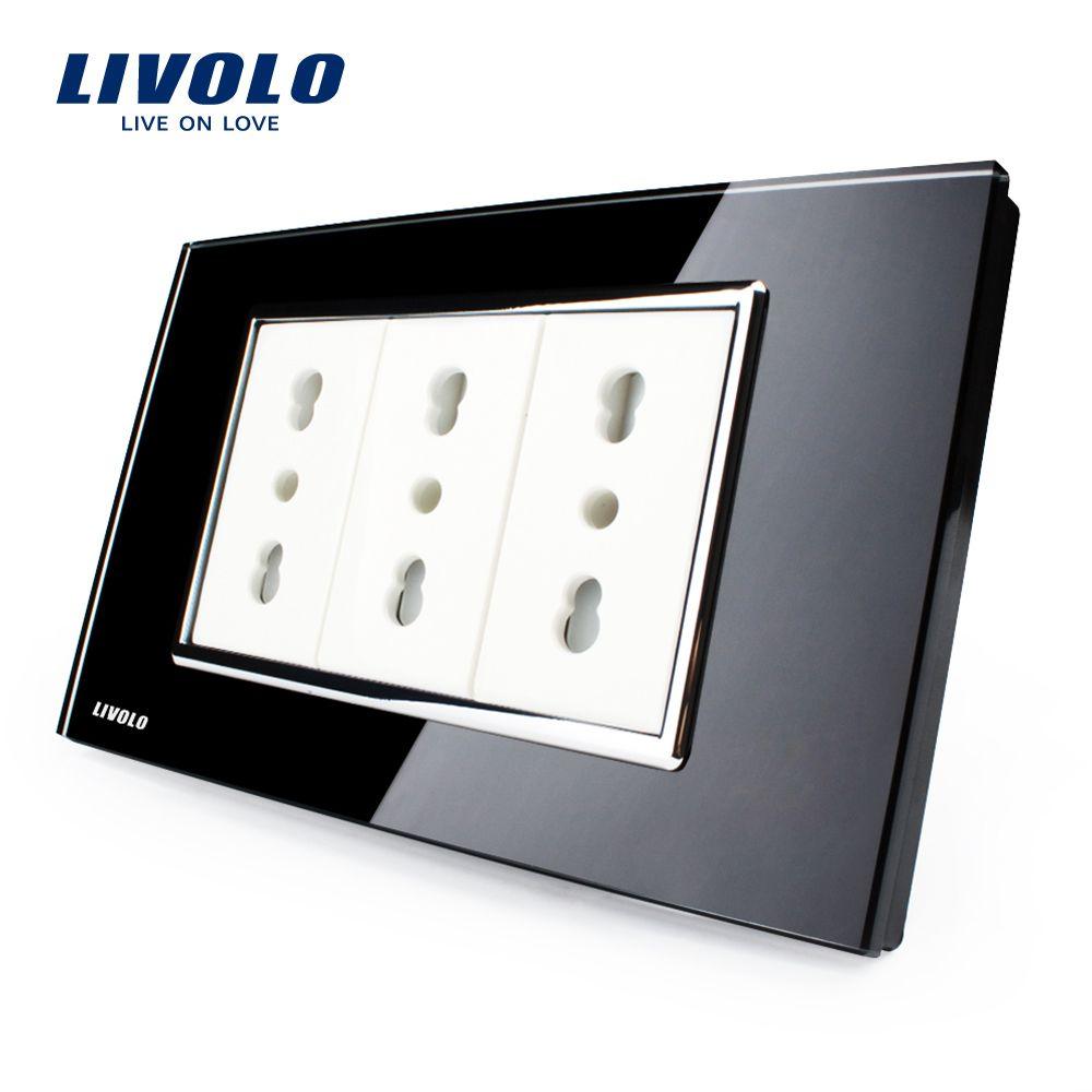 Livolo Италия Стандартный 3 контакта гнездо, черный закаленное стекло, 10A/16A, AC 250 В, стены powerpoints с вилкой, VL-C3C3AIT-82