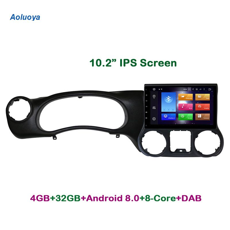 Aoluoya IPS 4G RAM 32G ROM Octa-Core Android 8.0 CAR DVD GPS Navigation Player For JEEP Wrangler 2015 2016 Radio multimedia DAB+