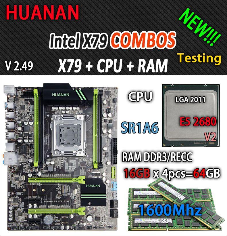 HUANAN goldene V2.49 X79 MOTHERBOARD-FREIES LGA2011 ATX combos E5 2680 v2 SR1A6 4x16G 64 GB 1600 Mhz USB3.0 SATA3 PCI-E NVME M2 SSD