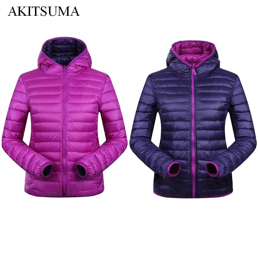 90% Winter Duck Down Jacket Women Hooded Ultra Light Down Jackets <font><b>Reversible</b></font> two side wear women jacket Winter Coat AKITSUMA