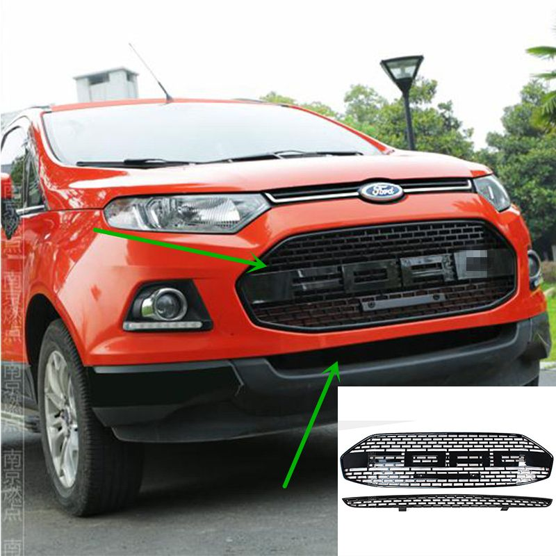 2 PCS/SET For Ford EcoSport Modified F150 Style Front Hood Center Grille Grill Car Styling 2012 2013 2014 2015 2016