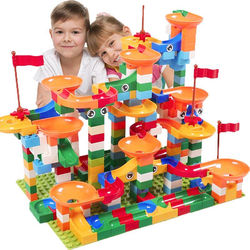 74-296 PCS Marble Race Run Block Maze Ball Track Building Blocks Compatible DuploINGlys Funnel Slide Blocks Toys For Children