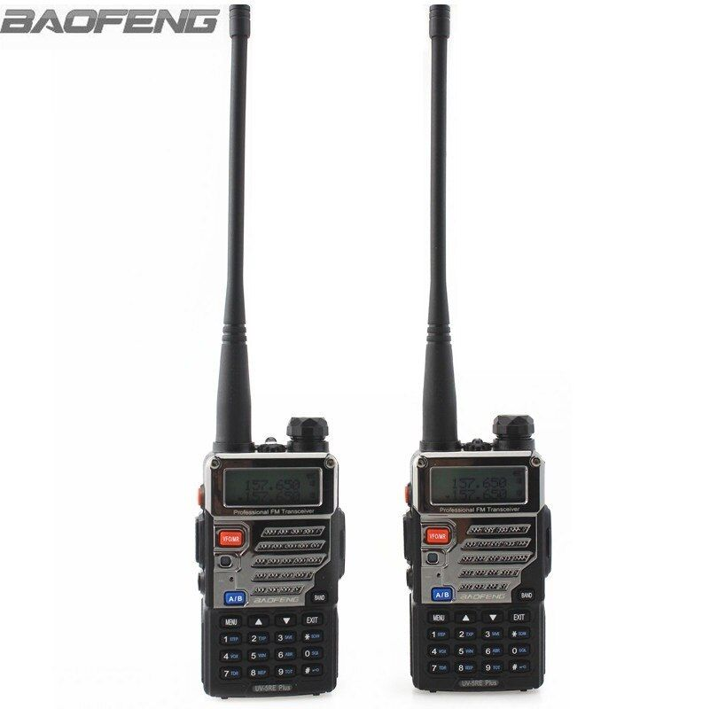 2 pcs BaoFeng Talkie Walkie UV-5RE Plus Métal Noir Ham Two Way Radios Dual Band 136-174 & 400-520 MHz Portable Pour Camionneur Chasse
