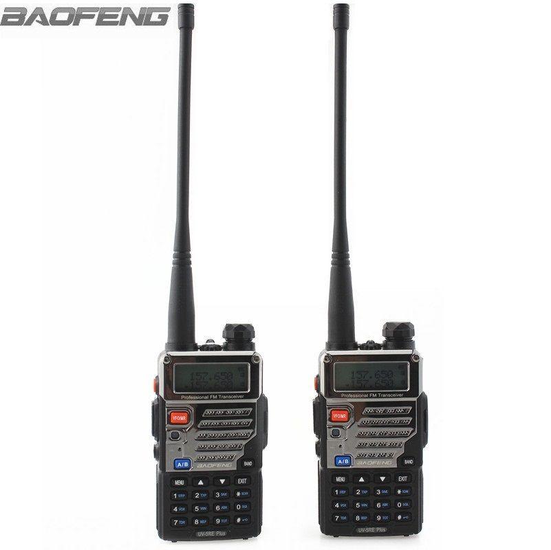 2 pcs BaoFeng Talkie-walkie UV-5RE Plus Métal Noir Jambon Radios Bidirectionnelles Bi-bande 136-174 et 400 -520 mhz Portable Pour Camionneur Chasse