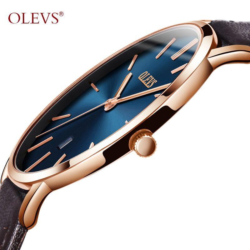 Ultra Thin Quartz Watch Men OLEVS Luxury Rose Gold Men Watch Blue Dial Waterproof Brown Leather Wrist Watch with <font><b>Date</b></font> 2018