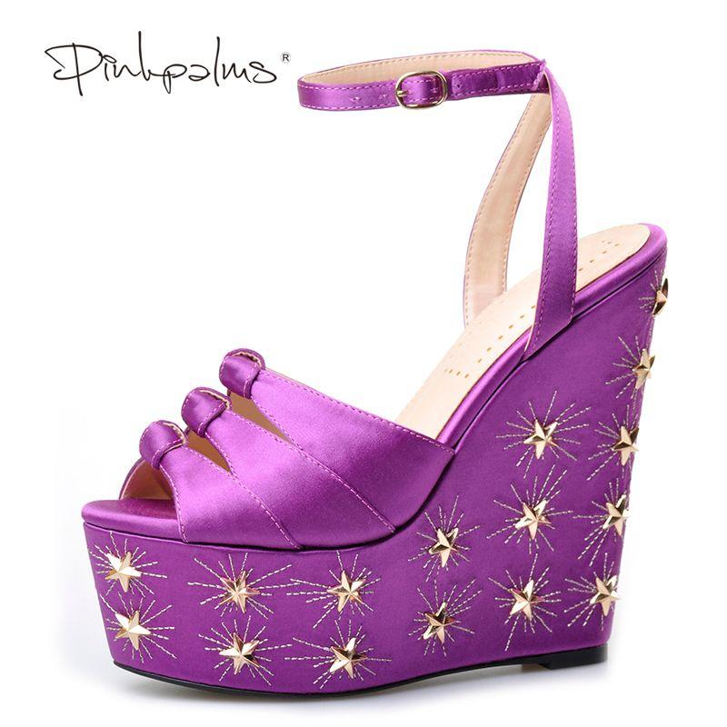 Rose palmiers femmes été nouveau violet soie plate-forme chaussures talons hauts peep toe cheville sangle chaussures or star design sandales