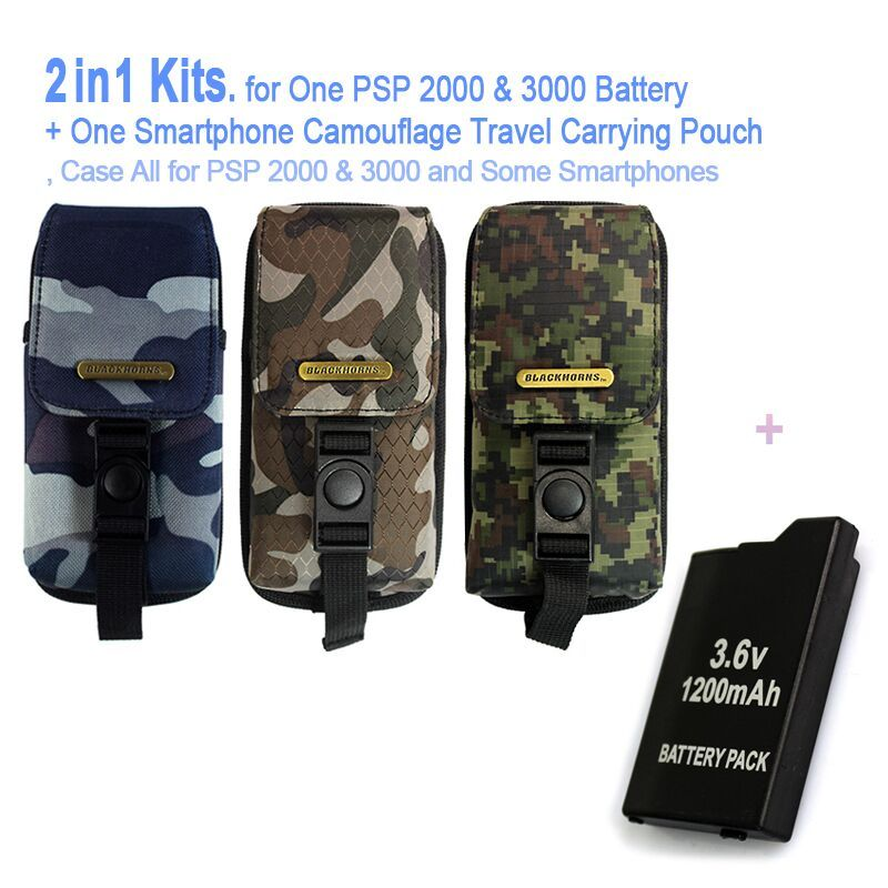 Game accessories for One PSP Battery + One PSP Camouflage Travel Carrying Pouch, Case Bag For All SONY PSP-2000,3000