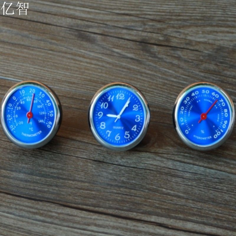 YiZhi car styling meter  originality decoration Ornaments best gift blue 4CM cool quartz watch + hygrometer + thermometer