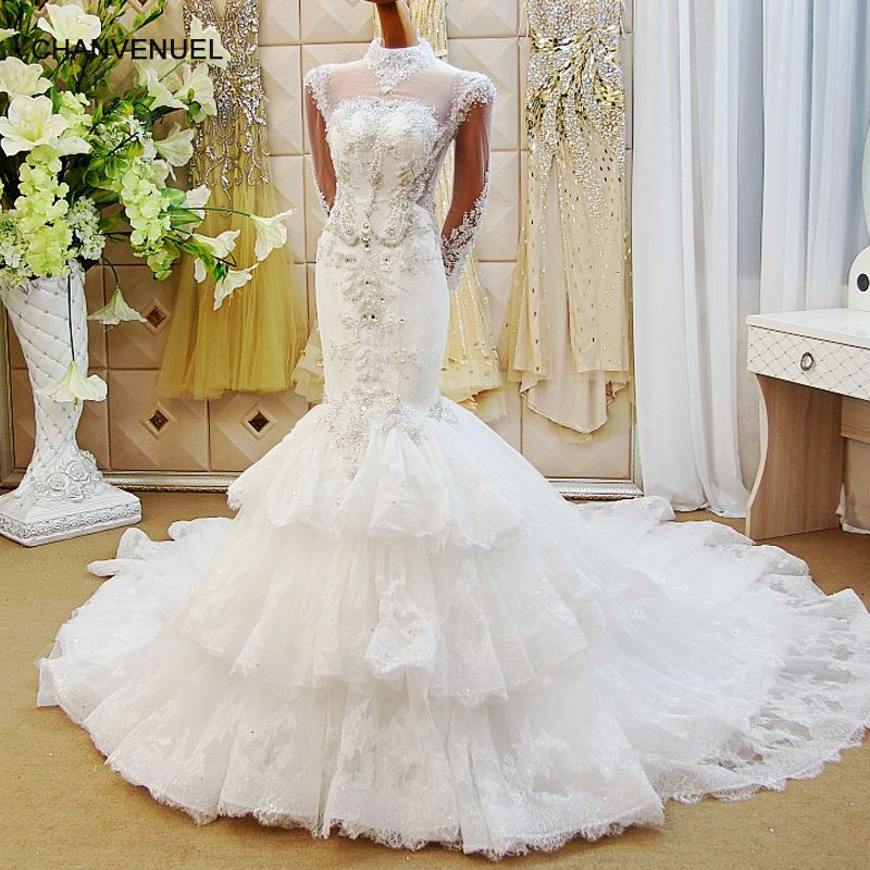 LS65002 wholesale mermaid wedding dresses tulle long sleeve backless beauty bridal wedding dressing gowns 2018 latest design