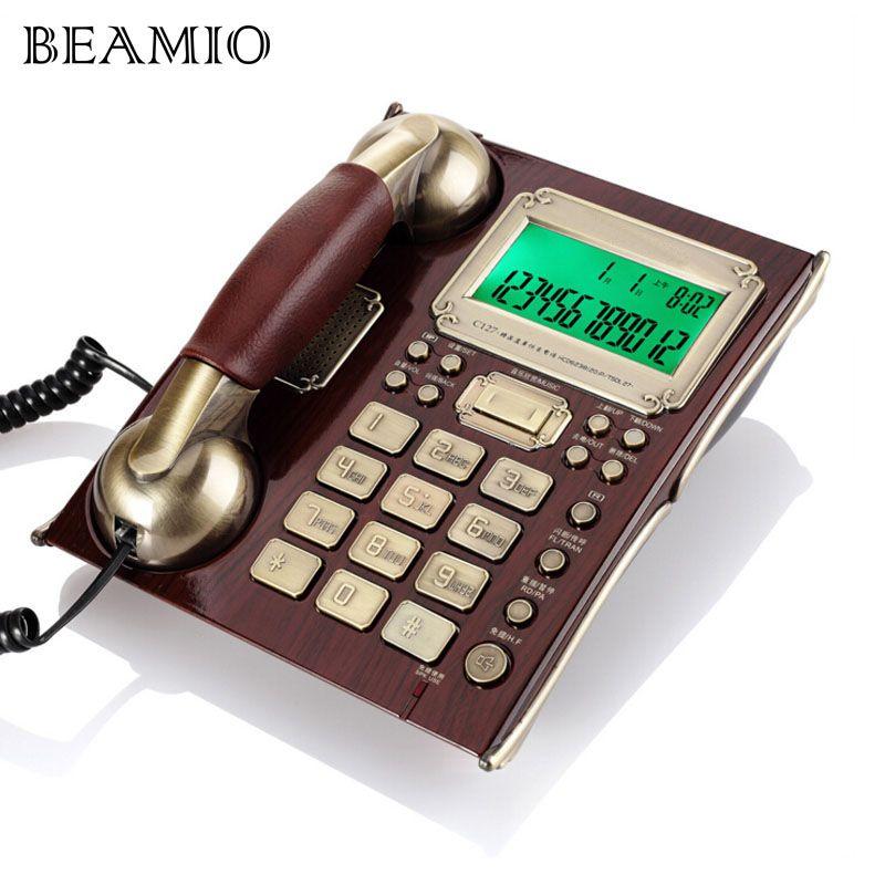Européenne Antique Vintage Call ID Mains Libres Téléphone Fixe Fixe Haut de gamme Avec En Cuir Combiné Pour Bureau D'affaires Accueil Brun