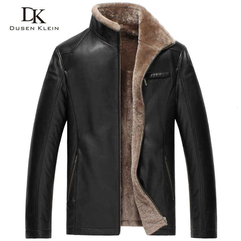 Winter men Leather jackets Dusen Klein Brand new men Wool Liner and Collar Luxury male Smart leather Coat sheepskin 14Z6603