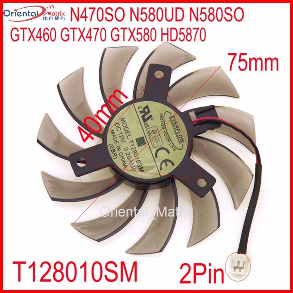 Livraison Gratuite T128010SM 12V 0.2A 2Pin Pour Gigabyte N470SO N580UD N580SO GTX460 GTX580 HD5870 Ventilateur de Carte Graphique