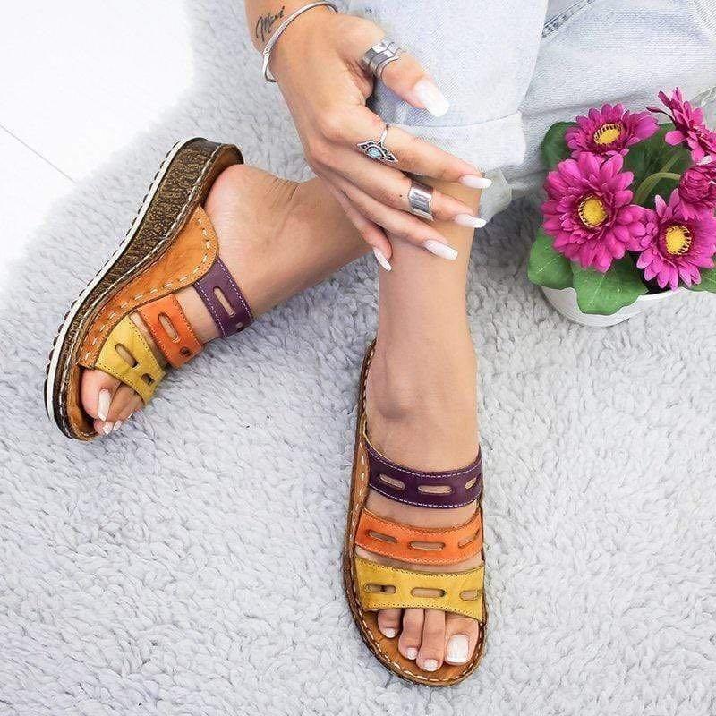 2019 Chic été femmes dame mode trois couleurs couture décontracté bas talon compensé plage ouvert Peep Toe sandales pantoufles chaussures