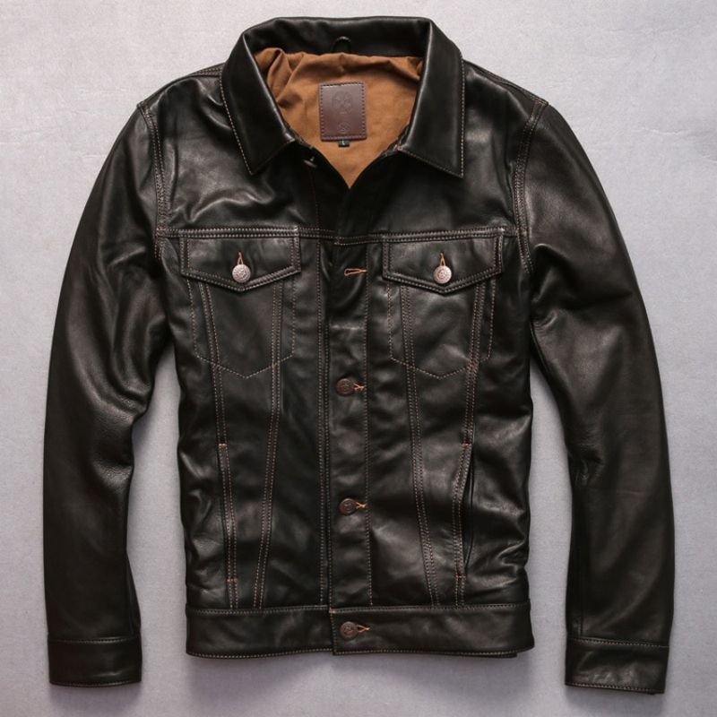 turn-down collar genuine goat leather clothing short suede leather rider jacket male casual motorcycle leather clothing