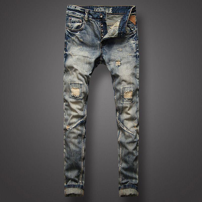 Style italien Hommes Jeans Top Qualité Mode Jeunes Rue Biker Jeans Hommes Rétro Vintage Denim Pantalons Détruits Ripped Jeans Homme