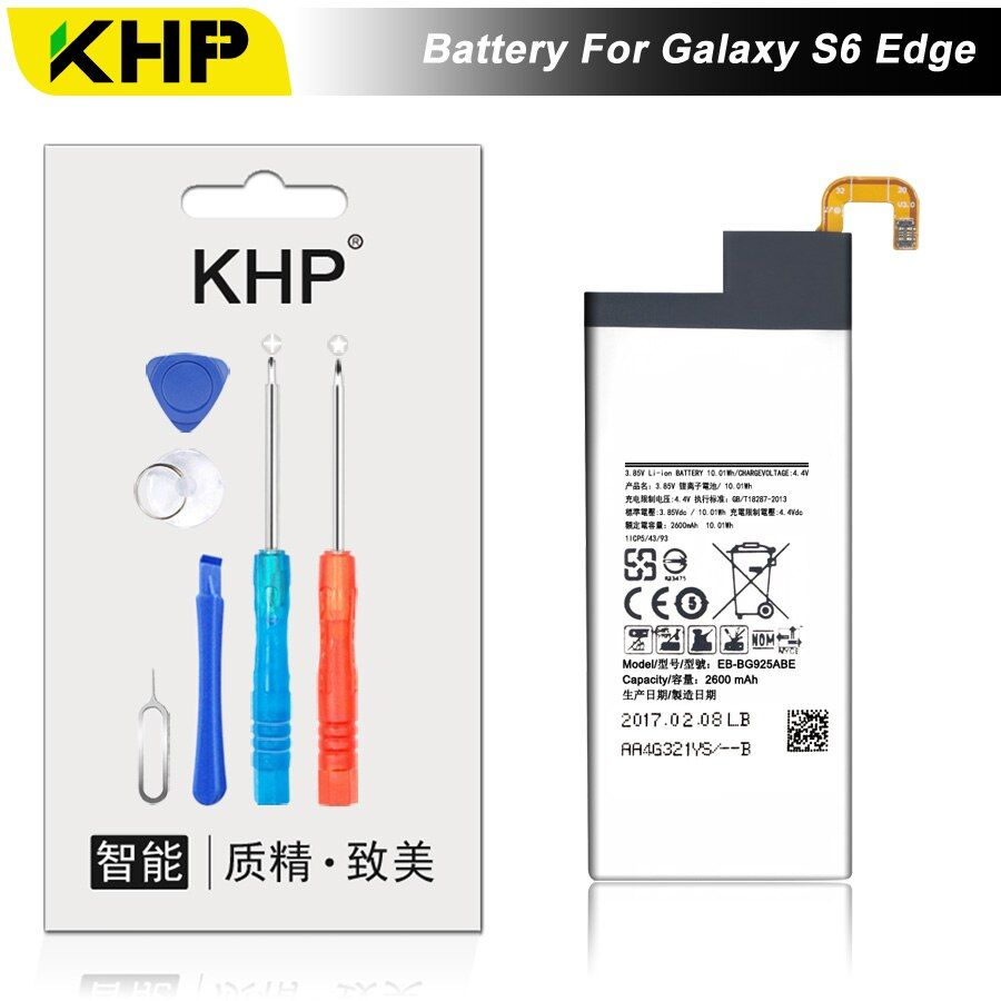 NEW 2017 100% Original KHP EB-BG925ABE Phone Battery For Samsung Galaxy S6 Edge G9250 G925F Battery Replacement Mobile Battery